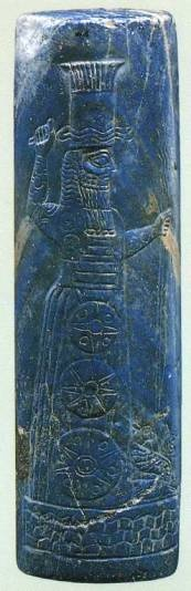 3i - giant alien Babylonian god Adad - Ishkur, with his planet Nibiru Cross symbol depicted on his clothing