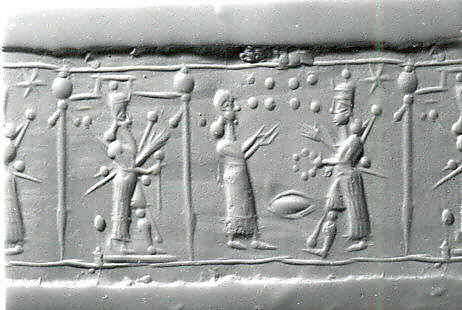 4h - Ninurta holding a scepter, his mother Ninhursag, & fighting Inanna, Nabu's 6-pointed star symbol of Mars