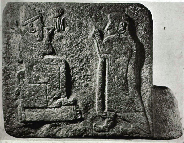 Adad seated on his throne, & his spouse Shala, King Anu's daughter