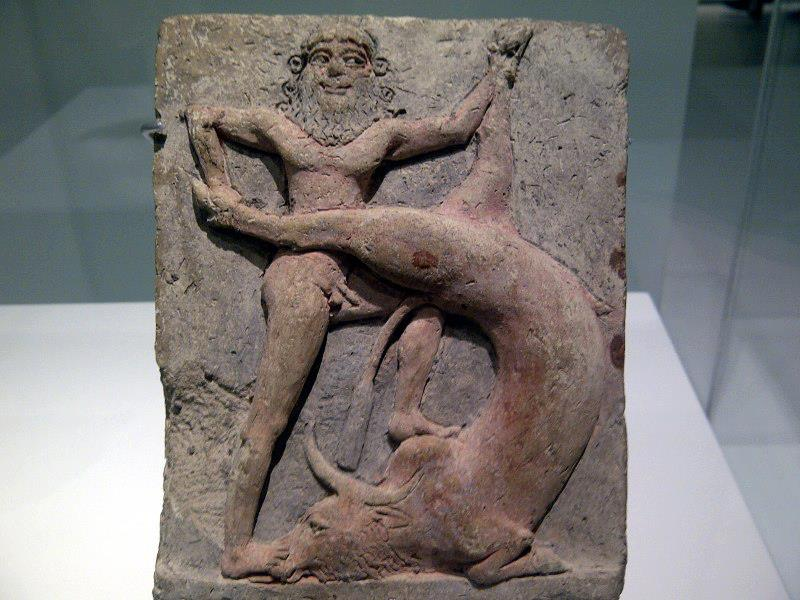 Gilgamesh & Bull of Heaven stele, stroy told far & wide for thousands of years