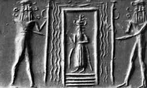 Enki at home, seated on his throne in his ziggurat - residence in Eridu