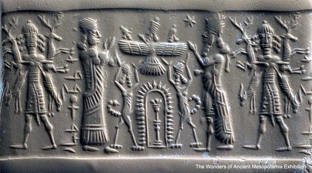 40 - giant mixed-breed king, Ninhursag, Enlil, Anu, & Enki in sky-disc, & Ninurta; the top of the Royal Family from Nibiru
