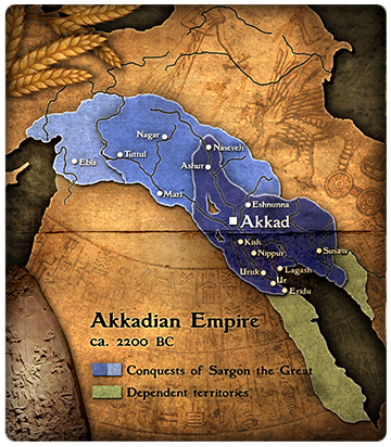 Akkad, ancient known world of giant mixed-breed king Sargon The Great, appointed to kingship by Enlil for Inanna, who picked him