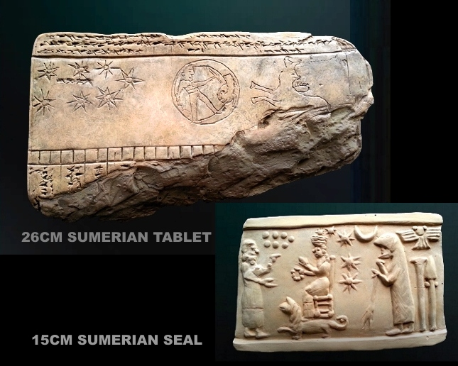 Enlil, Inanna with her 8-pointed star symbol, & Ninurta in his beast skin
