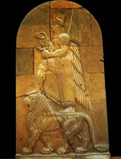 8a - stele, Inanna goddess of war atop Leo the lion