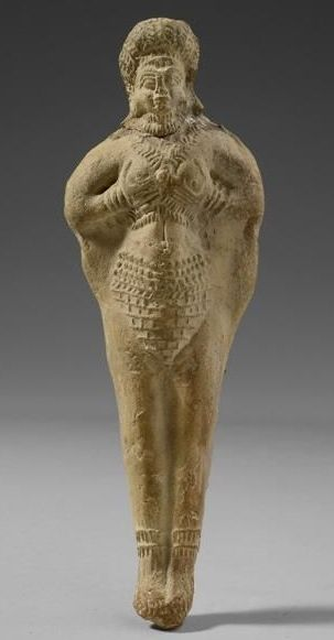 temptress goddess of love Inanna, proud of her bare breasts & vagina