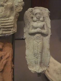 ancient stele of nanna in nude, depicted as the goddess of love