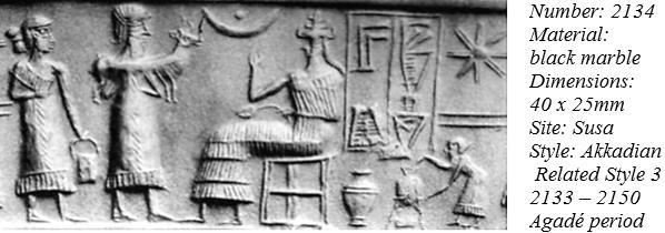 unidentified & mixed-breed king with dinner before seated goddess of love Inanna