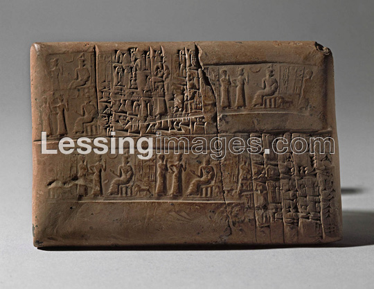 Inanna leads her mixed-breed spouse-king to her father Nannar for his blessing