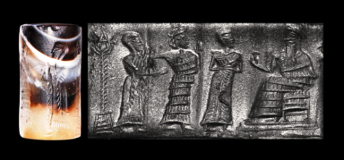 mixed-breed spouse-king, Inanna, unidentified, & Nannar, patron god of Ur & Inanna's father
