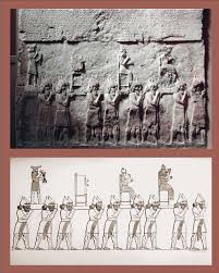 "16 - Adad, Shala, & Inanna, giant alien gods carried in procession before the ""black-headed"" earthlings"