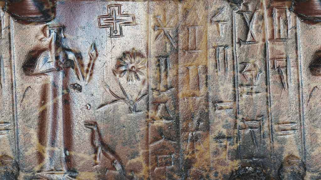 Marduk inside his temple-residence in Babylon; Nibiru cross symbol