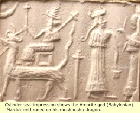 22 - Marduk enthroned on his dragon Mushhushshu, & Ninsun with her son-king