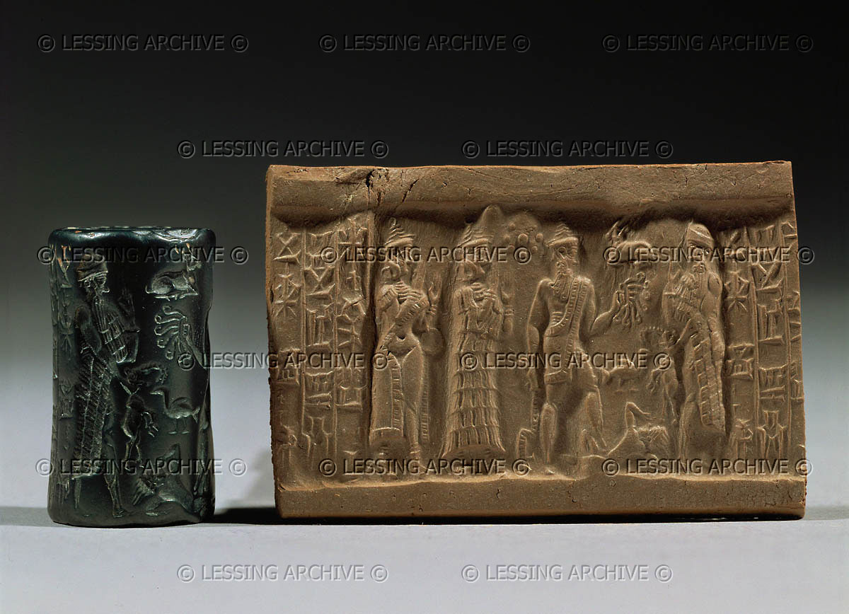 29 - Inanna, Ninsun, Ninurta with earthling under foot, & Nannar