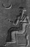 2bc - Nanna seated on his throne in Ur, & his symbol the moon crescent