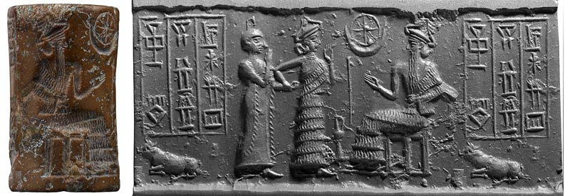 32 - Inanna presents a mixed-breed descendant high-priest to Nannar for his blessing on marriage & making him king of Ur; Utu's Sun disc symbol