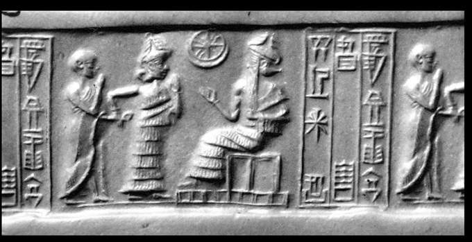 33 - high-priest & mixed-breed king, Inanna, & Nannar; Utu's Sun disc symbol