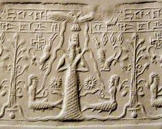 42 - Enki with flowing waters & 2 unidentified sons in the Abzu