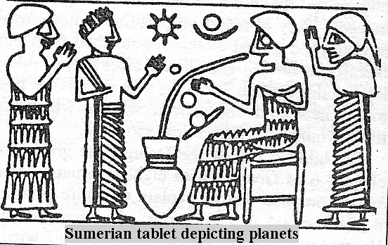 42 - all planets were known to Sumerian gods; Utu's Sun disc symbol