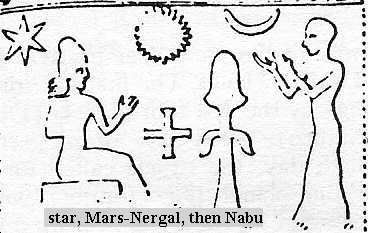 4a - 6-pointed star of Nabu, Sun god symbol of Utu, moon crescent of Nannar, cross symbol of Nibiru, & fertility symbol; 3 main religions of today symbolized thousands of years ago