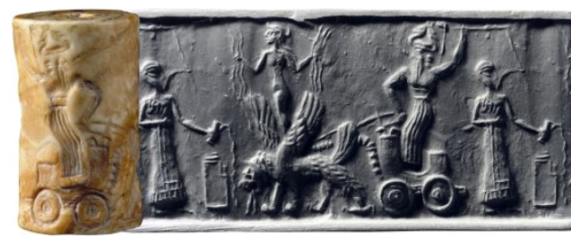 7 - elevated Goddess of Love Inanna, & Ninurta with chariot powered by flying beast spitting projectiles - his weaponized sky-disc