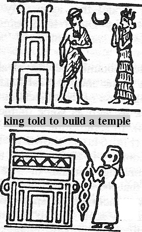 7c - top: mixed-breed king & mother Ninsun; bottom: high-priestess decorates Nannar's temple-residence in Ur
