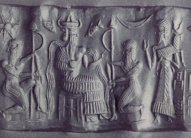 "8 - Enki & attendees with baby Adapa, Enki shown with the newly created species, today's ""modern man"""