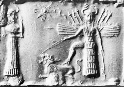 50c - 8-pointed star of Inanna, the Goddess of Love & War; Ninshubur & Inanna with foot upon her lion zodiac symbol