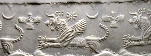 24 - Anu in his sky-disc with many symbols of gods