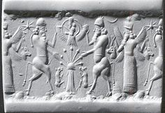 22 - Enki, Anu in his sky-disc, & Enlil; King Anu stands upon the Earth