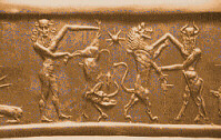 52d - Anu's 8-pointed star, Gilgamesh-left, Enkidu-right