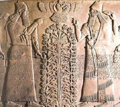 27 - giant mixed-breed King Shalmaneser II, Anu in sky-disc, Babylonian king, & Tree of Life