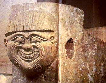 Humbaba carved into an ancient block of stone