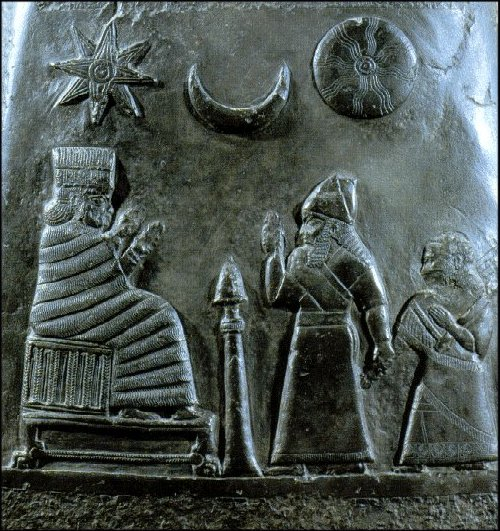 52e - Inanna, Nannar, & Utu symbols; Nanaya, Babylonian king & his ill daughter