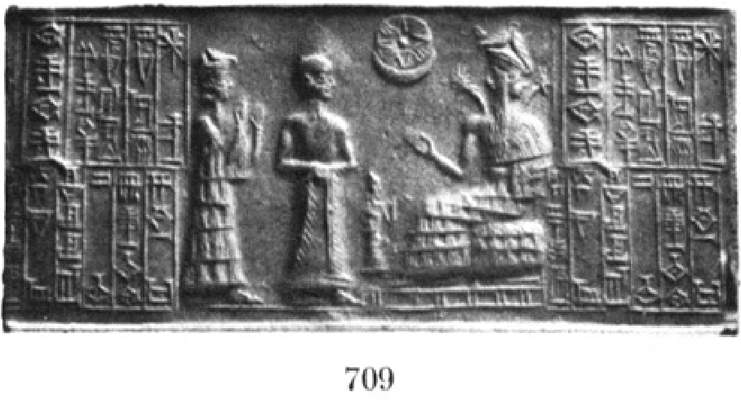 1 - Ninsun, her mixed-breed son-king Gudea, & Ningishzidda with his 2-horned serpents symbol over his shoulders