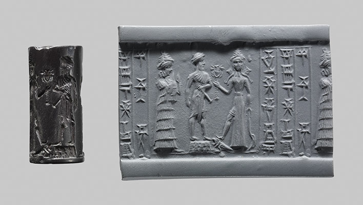 10c - Ninsun, her son-king & high-priest atop temple-residence, & Inanna