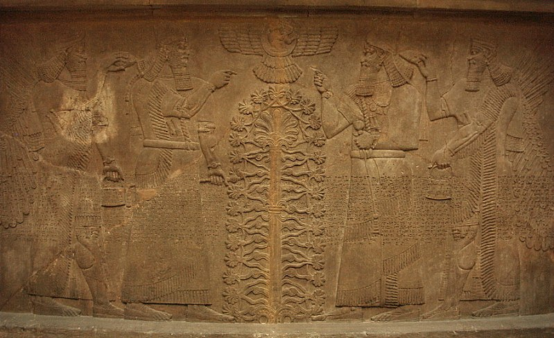 "10f - Ninurta, giant, ""mighty man"", mixed-breed descendant son, King Shalmaneser II, Ashur above in his sky-disc, a giant Babylonian king, & Adad, when gods walked with man upon the Earth"