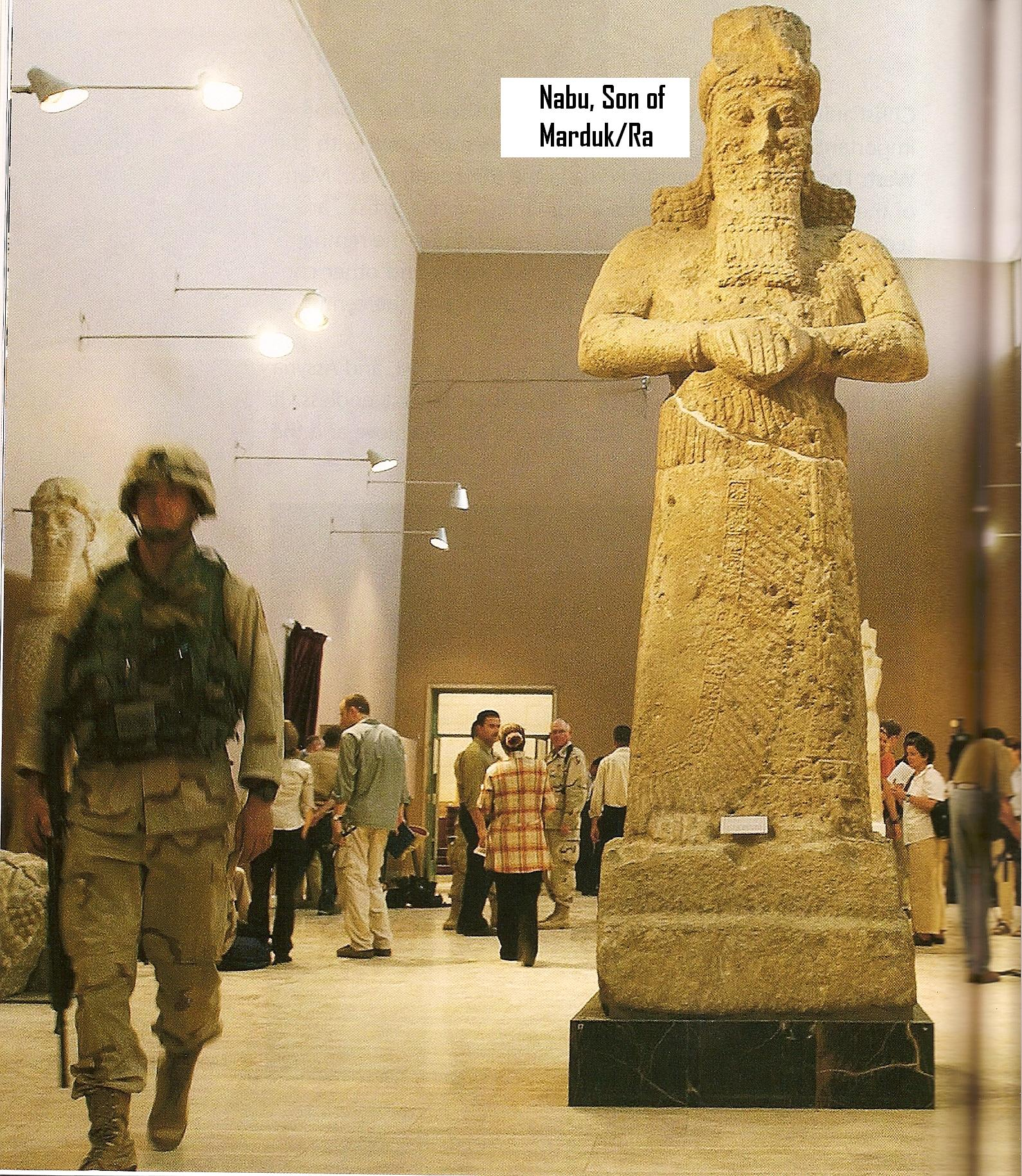 11 - life-sized statue of giant alien god Nabu, & US Army in Iraq; this artifact now shamefully destroyed by Radical Islam