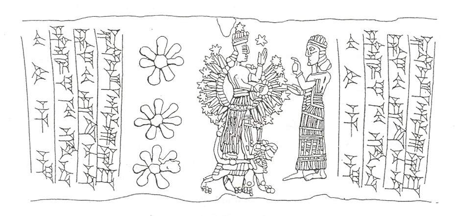 13 - Inanna in battle dress atop lion symbol, & grandaunt Ninhursag