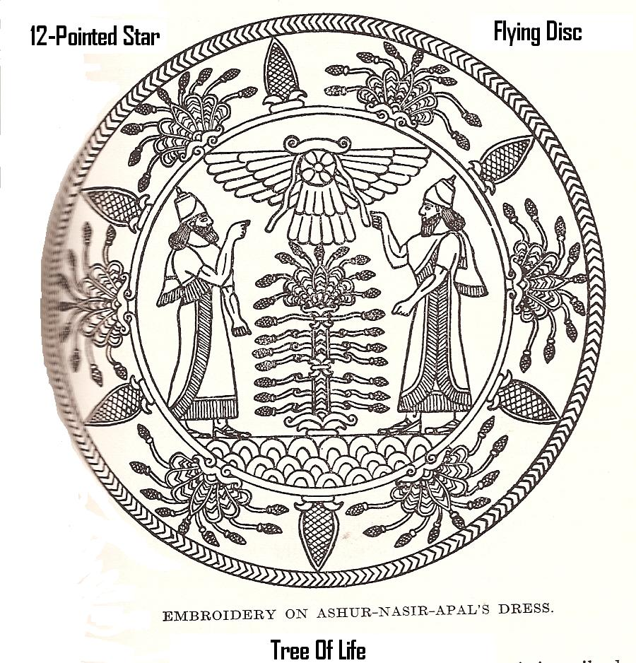 14 - King Ashur-Nasir-pal II's dress, 12-pointed star, flying disc, & Tree of Life symbols