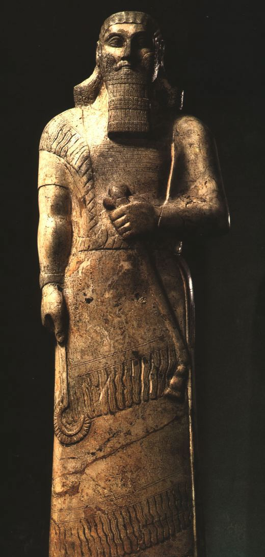 14e - Assurnasirpal II statue, a giant king, taller, stronger, faster, smarter, & lived longer than earthlings, the gods perfect go-between from gods to earthlings
