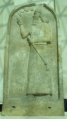 14g - mighty man, giant mixed-breed descendant-king Ashurnasirpal II stele in British museum