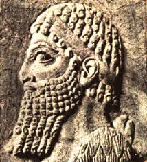 15c - Shalmaneser III, relief of the giant mixed-breed king of Assyria