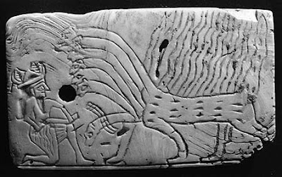 18 - Ashur & father Marduk's symbol, Ashur receiving instructions from his father Marduk in the heat of battle; 2,800 - 2,600 B.C.