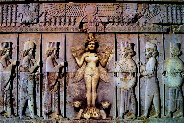 18 - nude winged Inanna atop her lions, pilot depicted with wings, just as today pilots have their wings