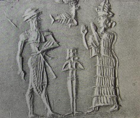 1d - Gilgamesh, nude spouse Inanna the Goddess of Love in the background, & his mother Ninsun