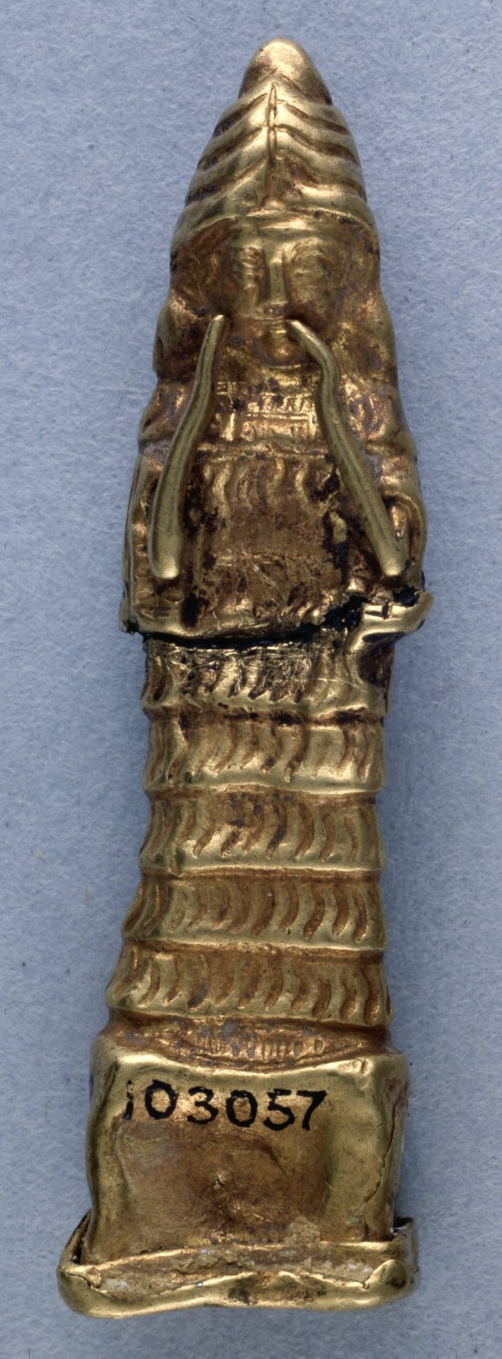 2 - golden statue of Lama - Ninsun, depicted mostly with mixed-breed sons, Inanna, & Nannar