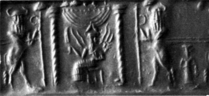 32 - Utu - Shamash on his throne in Sippur
