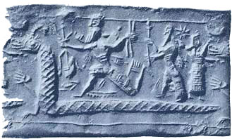 34 - Enuma-Elish, Babylonian Creation Story, SEE TEXTS, planet Tiamat is cracked into pieces by space collision with Nibiru's moons