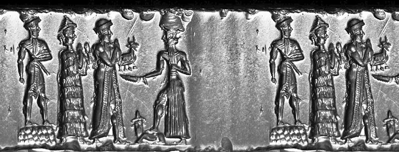 54 - high-priest, Ninsun, Nannar, & Utu with his roc-cutter saw